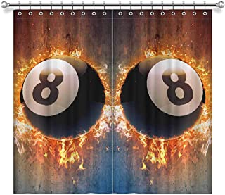 InterestPrint Cool Billiard Pool Snooker Ball in Space Blackout Curtains Room Darkening Window Treatment Curtains with Rings, 52x96 Inch Length (2 Pieces, 52 inches Wide Each Panel)