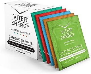 Viter Energy Caffeinated Mints - 5 Flavor Variety Sampler Pack. 40mg Caffeine, B Vitamins, Sugar Free Vegan Breath Mint. P...