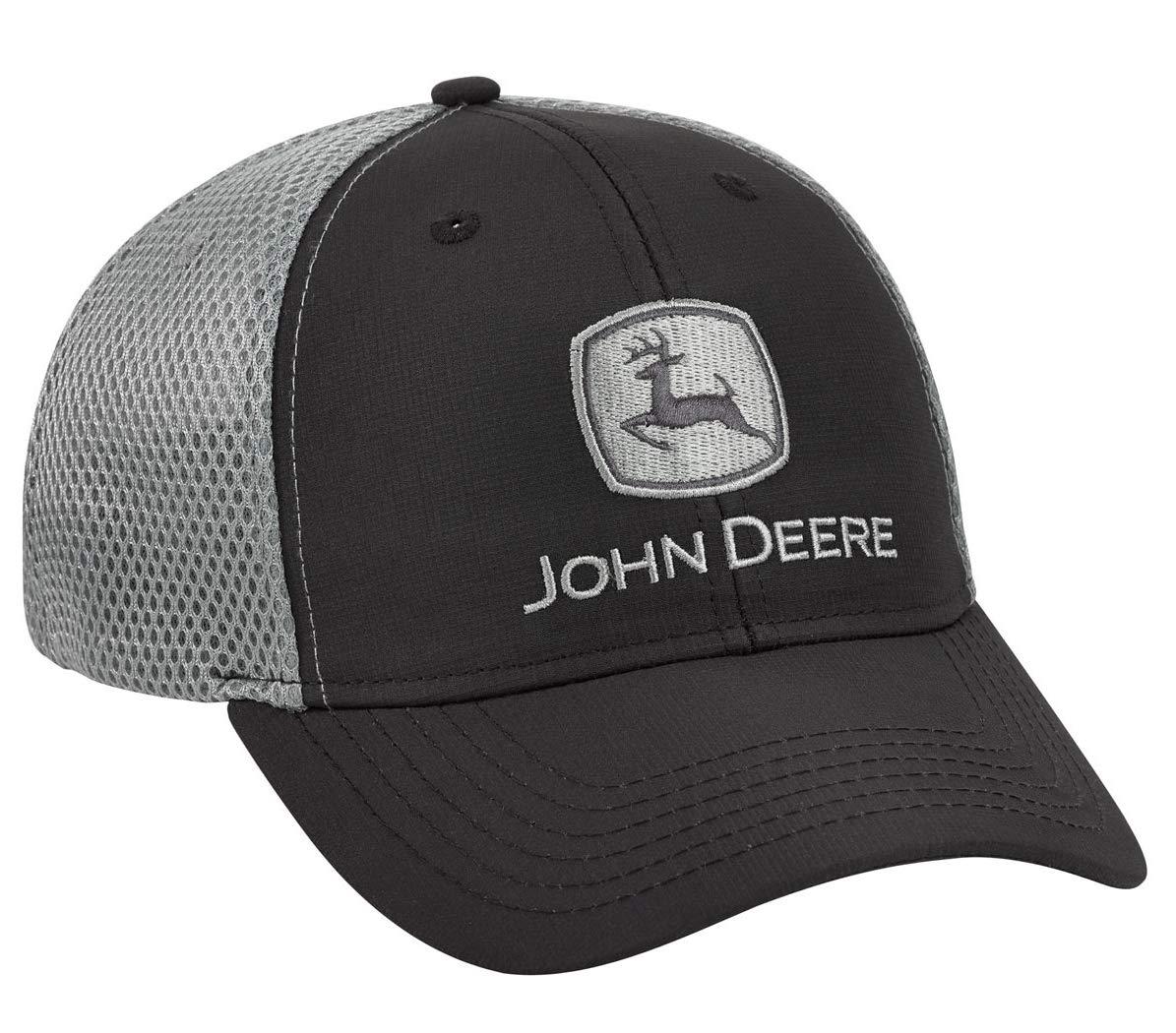 John Deere Black/Gray Stretch Fit Cap - LP69230