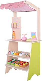 Mercures Wooden Farmers Market Stand - Kid's Playroom Furniture Grocery Stand for Pretend Play (28+ Pieces) - Includes Fruit, Clock,Vegetable, and Cash Register -Ship from US!