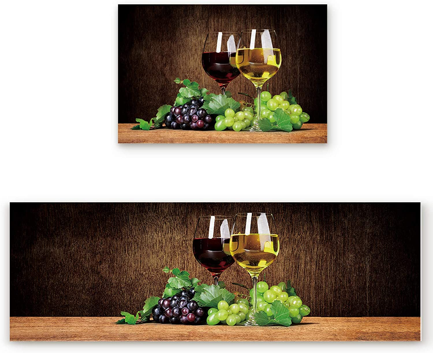 Shine-Home Non-Slip Kitchen Rugs 超特価SALE開催 Set 2 ご予約品 Grape Water-Abso of Wine