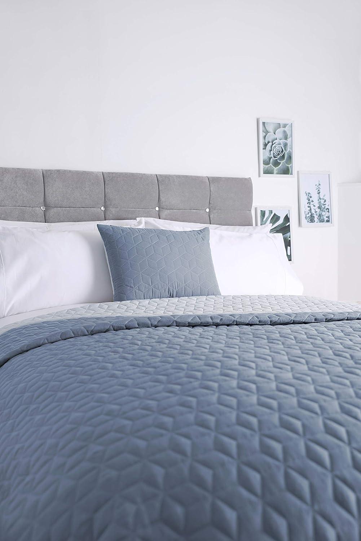 Panamá - Cojín de microfibra ligeramente acolchado, camino de cama y/o colcha (40 x 50 cm), color azul oscuro y claro
