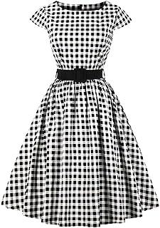 con Scollo Scoperto Vestito da t/è Vintage da Donna Stile Anni 40 Bottoni Wellwits