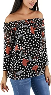 Avtosrno Off The Shoulder Tops for Women Plus Size 3/4 Bell Sleeve Printed Casual Shirt