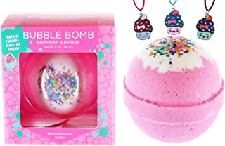Birthday Bubble Bath Bomb for Girls with Surprise Kids Cupcake Necklace Inside by Two Sisters Spa. Large 99% Natural Fizzy in Gift Box. Moisturizes Dry Sensitive Skin. Releases Color, Scent, Bubbles.