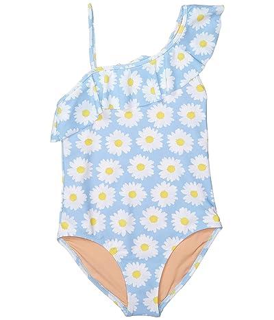 crewcuts by J.Crew Ruffle One-Piece Swimsuit (Toddler/Little Kids/Big Kids) (Light Blue/White) Girl