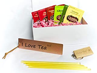 I Love Tea Petite Gift Box – 6 Different Flavored Tea Bags, 4 Honey Sticks, one Bookmark and One Keychain – Premium Quality and Elegant Box – Portable and Reusable – Perfect Gift for Tea Lovers