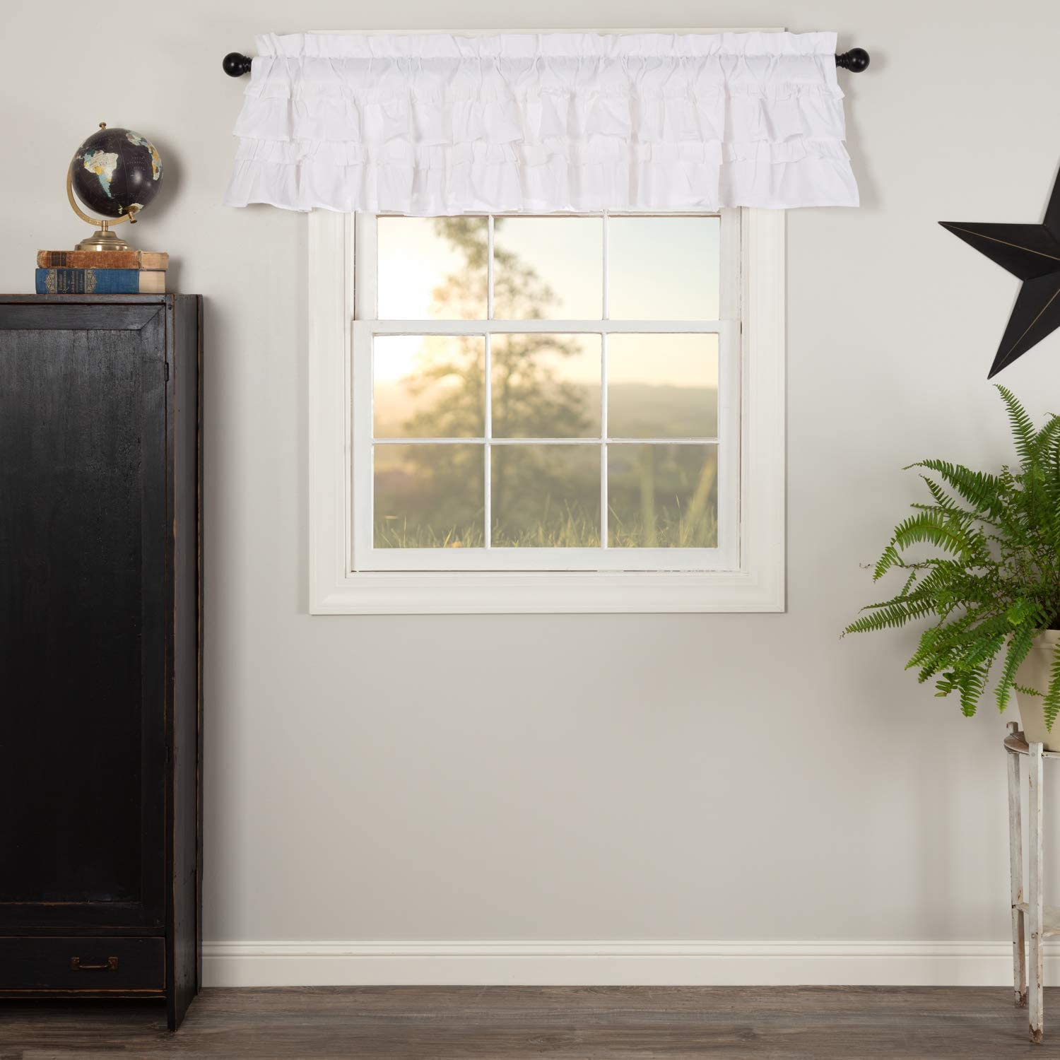 VHC Brands Muslin Ruffled 16x72 Bleached Valance White Max 64% OFF Max 82% OFF