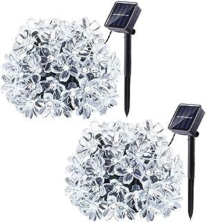 2 Pack Solar Garden Lights, 22ft 50LED Solar Flower String Lights, Waterproof Outdoor String Lights for Garden, Patio, Yar...