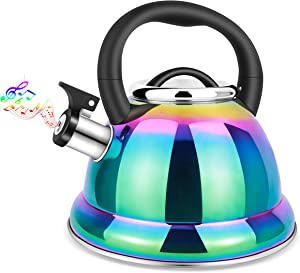 Whistling Tea Kettle for Stovetop, 3.5L Stainless Steel Tea Pot with Cool Ergonomic Folding Handle, Rainbow Induction Kettles for Boiling Water, Mirror Finish