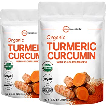 Maximum Strength Organic Pure Curcumin Powder, (Natural Turmeric Extract and Turmeric Supplements), Rich in Antioxidants for Joint & Immune Support, 100 Gram for 2 Pack, Non-GMO and Vegan Friendly