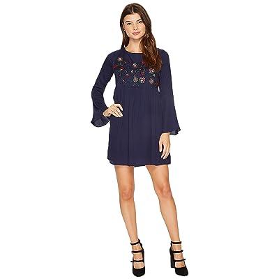 BB Dakota Bria Embroidered Tie Back Dress (Imperial Blue) Women