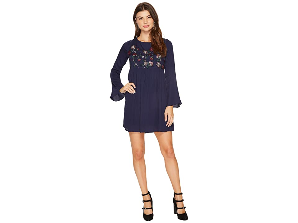 BB Dakota Bria Embroidered Tie Back Dress (Imperial Blue) Women