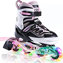 2PM SPORTS Cytia Pink Girls Adjustable Illuminating Inline Skates with Light up Wheels, Fun Flashing Beginner Roller Skate...