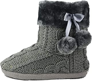 Slippers Womens Indoor Slipper Boots for Ladies Girls with Knitted Upper and Pom Poms