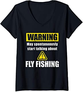 Womens Warning Sign Meme for Fly Fisherman Gift for Dad or Grandpa V-Neck T-Shirt