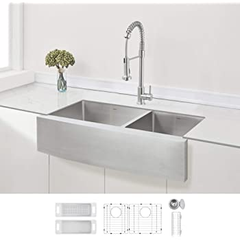 """ZUHNE 36-Inch Farmhouse Apron Front 60/40 Double Bowl Stainless Steel Kitchen Sink 16-Gauge (9"""" Round Apron)"""