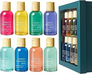 Coffret de bain, Green Canyon Spa 8PCS Gel Bain et Douche, Coffret Cadeaux pour Femmes et Hommes, 8 * 100ml Parfums Différ...