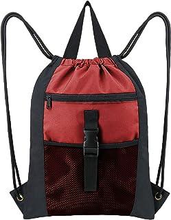 "Drawstring Backpack Bag Large 18""L x 13.6""W Gym String Cinch Sack with Pockets"