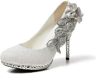 getmorebeauty Women's High Heel Dress Shoes Glitter Lace Flower Pearls Closed Toe Wedding Shoes