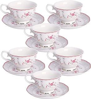 fanquare Ensemble Tasse à Thé et Soucoupe Fleur Rose pour 6, Ensemble de Tasses d'après-midi Vintage Britannique, Tasse à ...