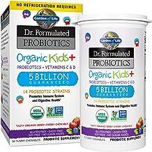 Garden of Life Dr. Formulated Probiotics Organic Kids+ plus Vitamin C & D - Berry Cherry - Gluten, Dairy & Soy Free Immune & Digestive Health Supplement, No Added Sugar, 30 Chewables (Shelf Stable)