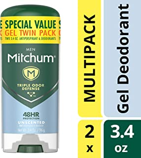 Mitchum Men Gel Antiperspirant Deodorant Twin Pack, Unscented, 3.4oz.