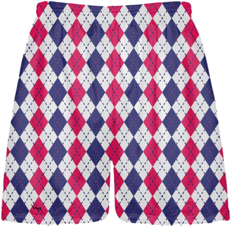 LightningWear Navy blueee Red and White Argyle Lacrosse Shorts