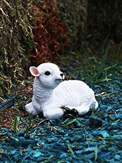 Ifever Resin Lamb Garden Statue, Indoor/Outdoor Yard Lawn Collectible Decorations Sheep Ornaments (Waking)