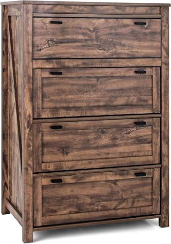high quality Giantex Rustic Vertical Drawer Chest, Dresser Clothes Storage, Industrial Dresser Tower w/ 4 Drawers, 2021 Wood Storage Organizer Cabinet Unit for high quality Bedroom, Living Room, Hallway (Rustic Brown) online sale