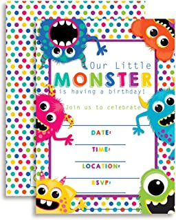 Colorful, Cute & Friendly Monsters Birthday Party Invitations, 20 5