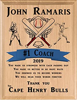 Broad Bay Baseball Coach Gift Personalized Coach's Plaque from Team Gift Made in USA!