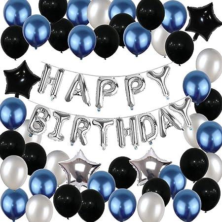 Ponmoo Blau Decoration Geburtstag Luftballons 112pcs Silber Geburtstag Ballons Luftballons Happy Birthday Geburtstagsdeko Kit Geburtstag Deco Folienballon Party Dekoration Spielzeug