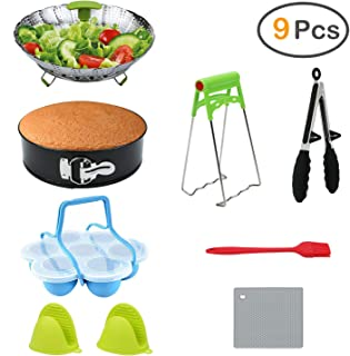 9-Piece Accessories for Instant Pot, ZOUTOG Steamer Cookware Set with Springform Pan/Steamer Basket/Egg Bites Molds/Oven Mitts/Kitchen Tongs and more - Fits 8 Qt Pressure Cooker