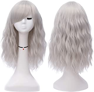 Mildiso Short Grey Hair Wigs for Women Full Curly Cosplay Wigs with Bangs Heat Resistant Synthetic Wigs (Grey) M050S
