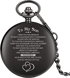 "Engraved Pocket Watch, Pocket Watch for Boy, Personalized Gift""to My Son"" Black Full Hunter Pocket Watch Steampunk Clock"