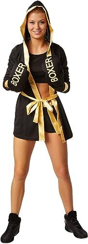 Robeforfun Costume de boxeuse pour femme   Costume de boxeuse avec courte, haut, hommeteau à capuche, ceinture et gants de boxe (M   Or   no. 301820)