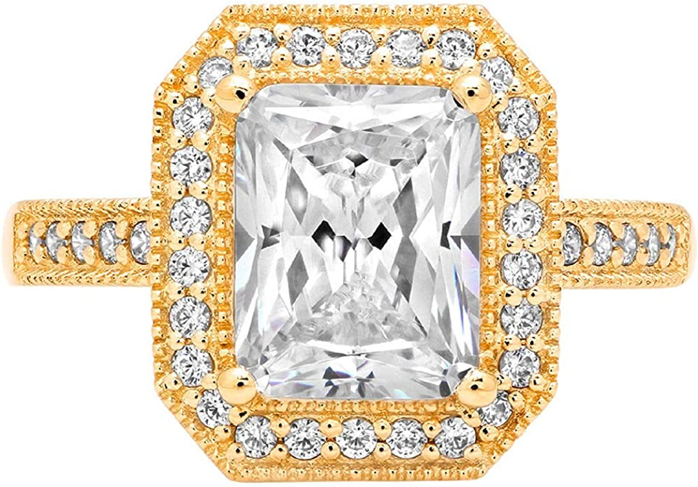 2.84ct Brilliant Emerald Cut Solitaire Accent Halo Genuine Flawless White Lab Created Sapphire Gemstone Engagement Promise Anniversary Bridal Wedding Ring Solid 18K Yellow Gold