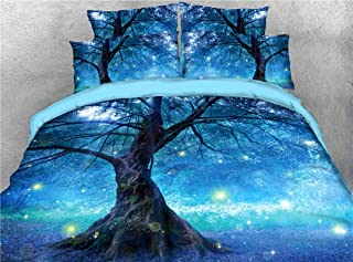 UniTendo 4-Piece Duvet Cover Sets 3D Beautiful BlueTree Digital Bedding High Definition Carbon Charming Tree and Star Light Print Queen Size.