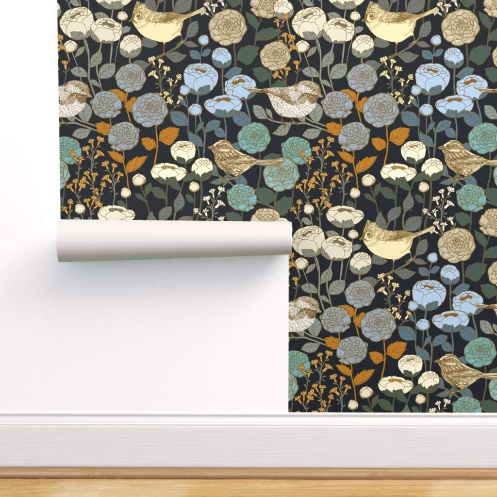 Special price for a limited time Spoonflower Pre-Pasted Removable Wallpaper Winter Black Indianapolis Mall Garden