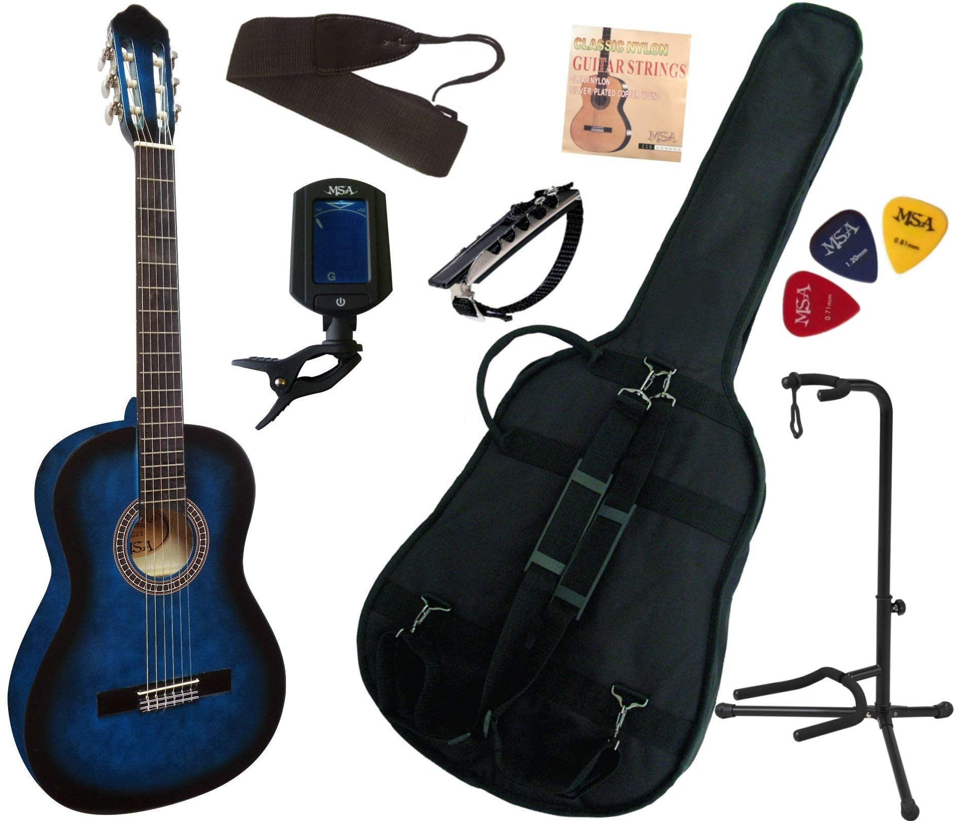 MSA - Lote de guitarra clásica 4/4 para adulto, con 7 accesorios ...