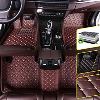 Custom Car Floor Mats for 2012-2014 DS 4 Waterproof Non-Slip Leather Carpets Automotive Interior Accessories 1 Set Coffee