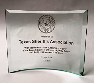 NWA Achievement or Graduation Plaque, Beveled Etched Glass Crescent, Police, Corporate, Firefighters Awards