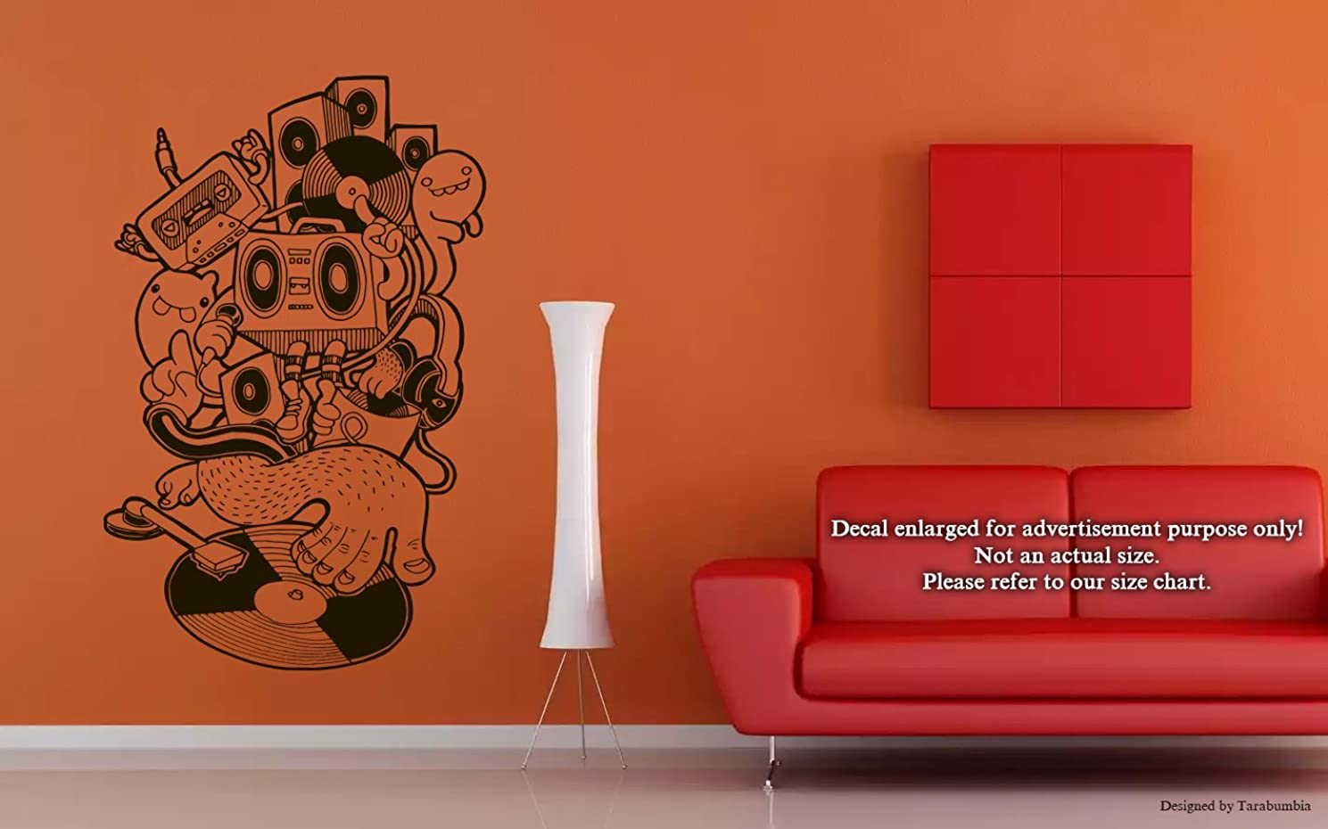 Music DJ Vinyl Records VCR Wall Decals Stickers Decorative Design Ideas For Your Home or Office Walls Removable Vinyl Murals EC-0082