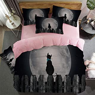 Winter Duvet Cover, Bed Sheet Set Bedding Set 4 Piece Set Silhouette of A Cat Looking to Full Moon While Sitting On The Fence Animal Crystal Velvet Ultra Soft Hypoallergenic Black Pale Grey Blue