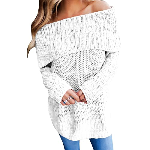 67c13e89daf93 Imysty Womens Off The Shoulder Sweater Pullover Oversized Knitted Long Sleeve  Jumper