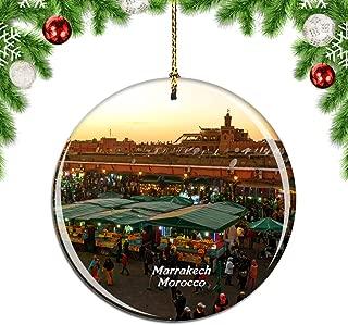 Weekinoモロッコマラケシュスーククリスマスデコレーションオーナメントクリスマスツリーペンダントデコレーションシティトラベルお土産コレクション磁器2.85インチ
