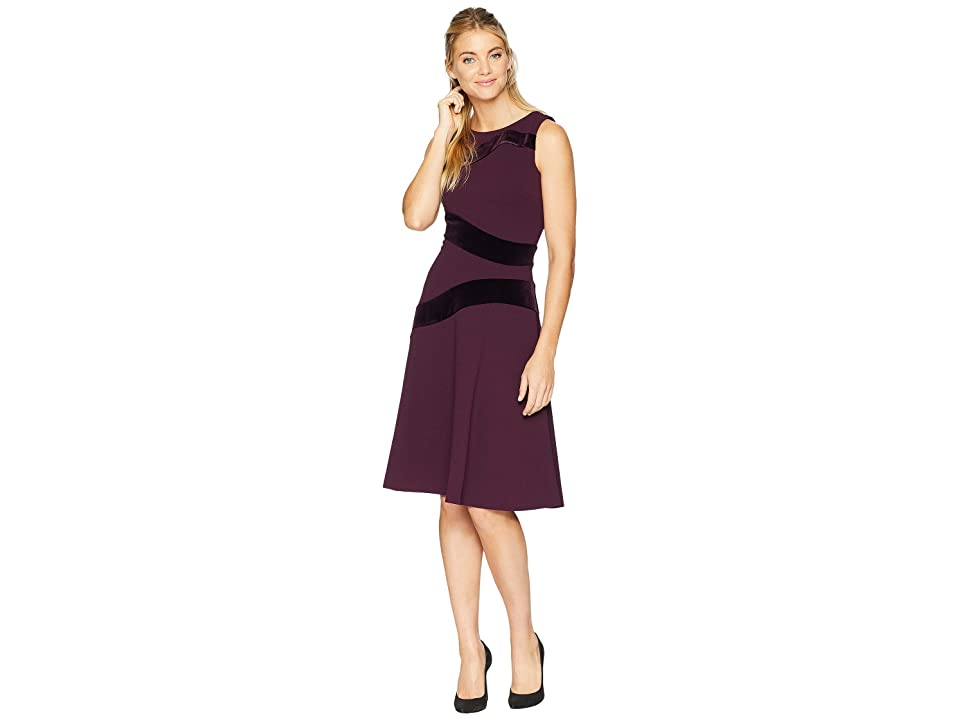 Calvin Klein Velvet Detail Fit Flare Dress CD8C14RP (Aubergine) Women