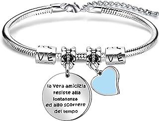 """Angelra Regali di Amicizia Braccialetto Donna Bracciale Amici""""La vera amicizia resiste alla lontananza ed allo scorrere de..."""