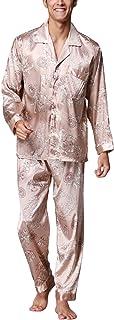 Dolamen Mens Pyjamas Set Satin, Mens Silky Soft Spring Summer Retro Printing Pyjamas Nightwear, Long Sleeve Bottoms, Check...